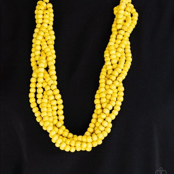 Paparazzi Tahiti Tropic Yellow Wood Necklace NWT